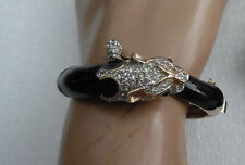 PANETTA  50'S BLACK ENAMEL & CLEAR CRYSTAL PANTHER BRACELET  EXQUISITE