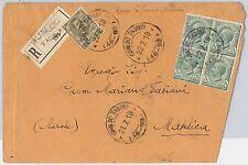 ITALIA REGNO: storia postale - Sass 81 QUARTINA + 75 su BUSTA da Gualdo Tadino