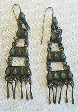 Old NAVAJO Cluster Chandelier TURQUOISE & Sterling Silver Ladder Dangle EARRINGS