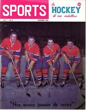 1962 Dec. Sports Le Hockey Magazine,Jean Believeau, Henri Richard, Canadiens ~Gd