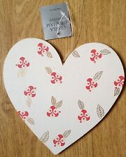 BNWT Gisela Graham Christmas Wooden Hanging Love Heart Cream Glitter Shabby Chic