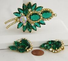 VINTAGE D&E JULIANA GREEN RHINESTONE LAYERED SPRAY Set BROOCH EARRINGS