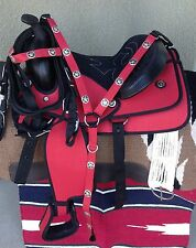 "14"" NEW RED WESTERN CORDURA PLEASURE TRAIL SADDLE PACKAGE"