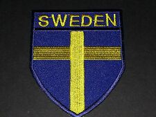 BACKPACKERS NATIONAL COUNTRY SHIELD FLAG SEW/IRON ON PATCH:- SWEDEN