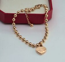 Love Forever Heart Rose Gold Link Chain Stainless Steel Gift Ankle Bracelet AF