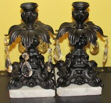~Antique Candle Holders Wrought Iron with Marble Base & Glass Prisms~