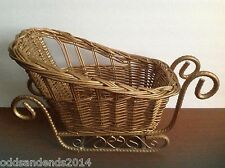 Large Gold Colored Wicker Sleigh with Metal Base (Gold Color)