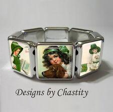 St. Patrick's Day Bracelet Stretch VTG Card Art Irish Setter Green Clover