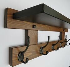 Wooden hat and coat  rack with black shelf  ( 5 Hooks)