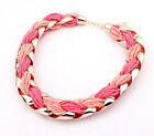 All Match Womens Fashion Bohemian Braided Metal Beads Rope Knot Necklace