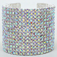 CRYSTAL AB -RHINESTONE 14-Row CUFF Statement BRACELET/CROSSDRESSER/DRAG QUEEN