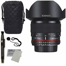 Rokinon 14mm Wide Angle Fixed Lens w/ Built-in AE Chip for Nikon + Accessories