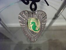 MIB WATERFORD CRYSTAL AMETHYST HEART NECKLACE PENDANT WITH BLACK CORD~IRELAND