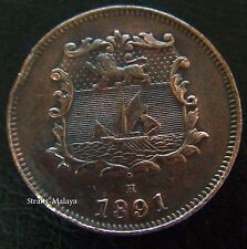 BRITISH NORTH BORNEO 1/2 HALF CENT 1891 H **HIGH GRADE COIN**