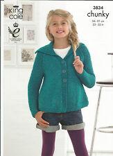 "KING COLE 3834 GIRLS EASY KNIT CHUNKY KNITTING PATTERN RAGLAN CARDIGANS 22""/32"""