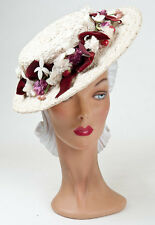 40s Original White Fancy Wovern Straw Hat Enhanced with Vibrant Florals & Velvet