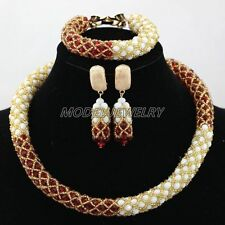 Red Cream Handmade Crystal Beads Jewelry Sets African Costume Beads Jewelry Set