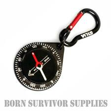 SILVA 9 BLACK CARABINER COMPANION COMPASS - Pocket Map Reading Emergency Keyring