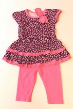 TeddyBoom Pink & Black Animal Print Dress & Leggings Infant Baby Girl 18 Months