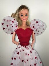 Vintage 1983 Loving You Barbie Doll in Red Heart Dress 7072 With Accessories