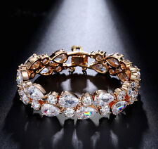 14k Rose Gold GF Bracelet made w/Auth Swarovski Crystal Stone Clear Bridal Jewel