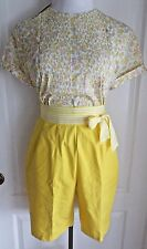 vintage 50s 2 piece set shorts NOS top ship shore yellow flowers pleats lucy day
