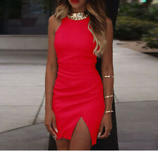 2016 Sexy Womens Fashion Front Split Pure color Tight Ladies Mini Party Dress