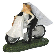 Bride & Groom on Bicycle Cake Topper Wedding Biker Couple Figure CCM421 BNIB