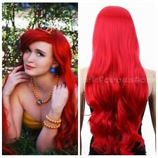 Hot long Dark Red Curly Little Mermaid princess Ariel synthetic Cosplay Wigs New