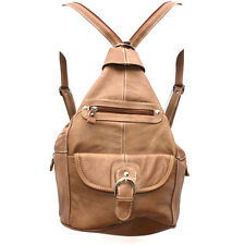 Genuine Leather Light  Brown Sling Large Backpack Organizer w Buckled Pockets