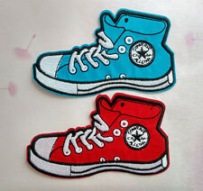 leisure gym shoes Sneakers Embroidered applique Iron On patch blue red girl boy