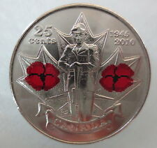 2010 CANADA 25¢ POPPY COLORED QUARTER UNCIRCULATED FROM MINT ROLL