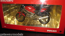 MINICHAMPS 1:12 DUCATI MONSTER   RED AWESOME LOOKING MOTOR BIKE  #122 120100