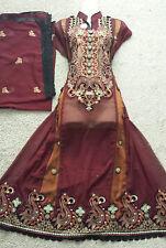 maroon Ladies Indian unstitched salwar kameez shalwar lengha asian *