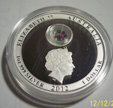 2012 AUSTRALIA 1 Oz Silver Gemstone Christmas Snowflake Locket Proof Gift Holder