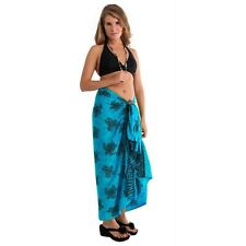 1 World Sarongs Womens Beach Cover-Up Turtles Sarong Turquoise/Black