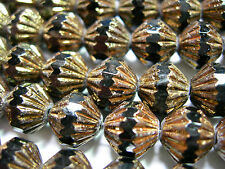 25 9mm Czech Glass Jet Black Bronze Fluted Bicone Beads