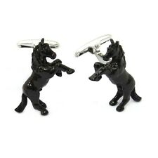 Horse Black Cufflinks Jockey Derby Triple Crown Bucking Bronco + Box & Cleaner