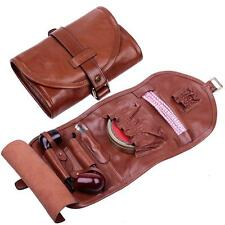 Top-grade Handmade Real Leather Smoking Tobacco Pipe Pouch Bag Holder For 2 pipe