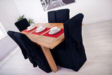 Set de 4 bleu moyen chaise salle à manger tissu couvre pour défilement haut dossier haut cuir