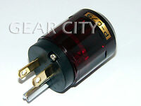 ppl4s Gold US Mains Power Plug Male Connector Copper Cable Cord 3 Prong HiFi