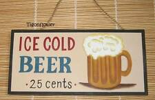 Wood Sign Plaque Decor Country Rustic ICE COLD BEER