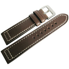 22mm Hadley-Roma MS851 Mens Brown Saddle Leather Pilot Watch Band Strap