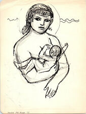 MOTHER & NURSING CHILD Vintage ART Drawing MID-CENTURY MODERN Painting Eames
