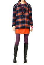 KATE SPADE SATURDAY Plaid 5 Pocket Wool Oversized Coat Jacket Women's Size L