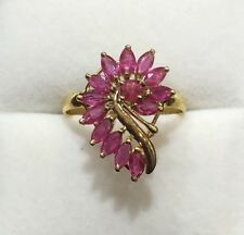 14k Solid Yellow Gold Ring 1.85CT 2.60GM/Natural Ruby Marquise Cut Size 6.75