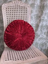"""THROW PILLOW Red Crushed Velvet Pleated 18"""" Round GORGEOUS! BRAND NEW with TAGS!"""