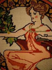 VINTAGE Hand Stitched UNFRAMED COMPLETED ART NOUVEAU WOMEN FLORAL NEEDLEPOINT