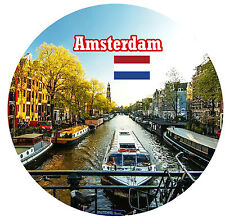 AMSTERDAM - SIGHTS / FLAG - ROUND NOVELTY SOUVENIR FRIDGE MAGNET - BRAND NEW