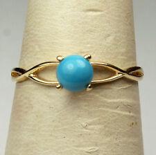 14K solid yellow gold gorgeous elegant 5mm cabochon Arizona Turquoise ring